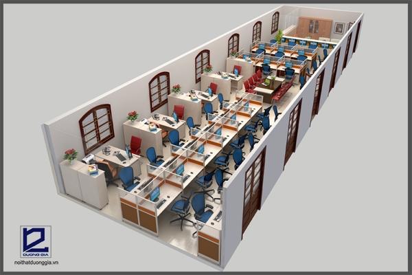Thiết kế phòng làm việc báo Nhân dân VP-DG02 nhìn tổng thể