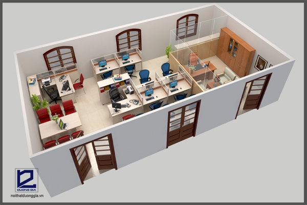 Thiết kế phòng làm việc báo Nhân dân VP-DG02 tạo sự tiện nghi, hiện đại
