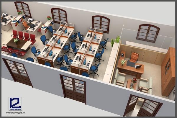 Thiết kế phòng làm việc báo Nhân dân VP-DG02 với phòng lãnh đạo thiết kế mở