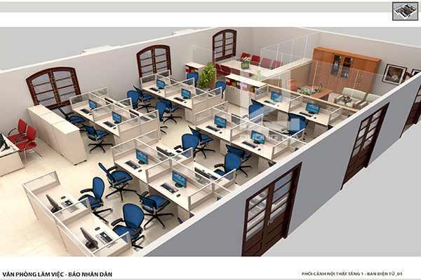 Thiết kế nội thất văn phòng làm việc cho ban Điện Tử