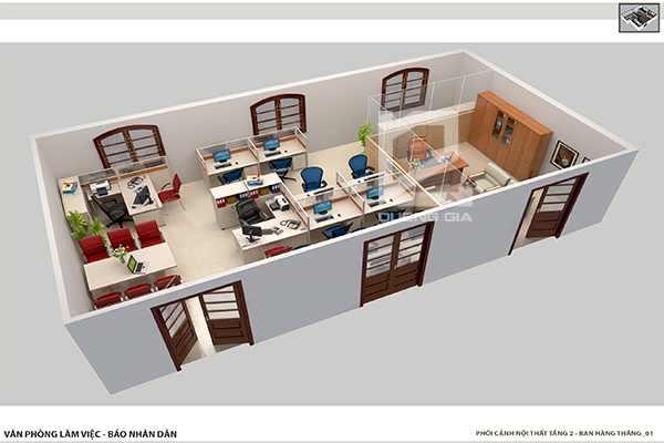 Thiết kế nội thất văn phòng làm việc cho ban Hàng Tháng