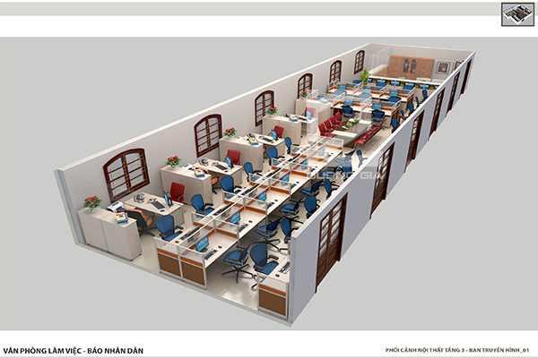 Thiết kế nội thất văn phòng làm việc cho ban Truyền Hình
