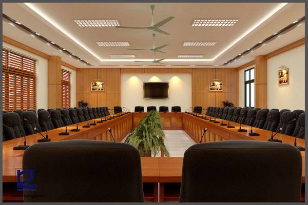 Mẫu thiết kế phòng họpPH-DG09 khi được thiết kế cho không gian lớn (góc chụp 1)