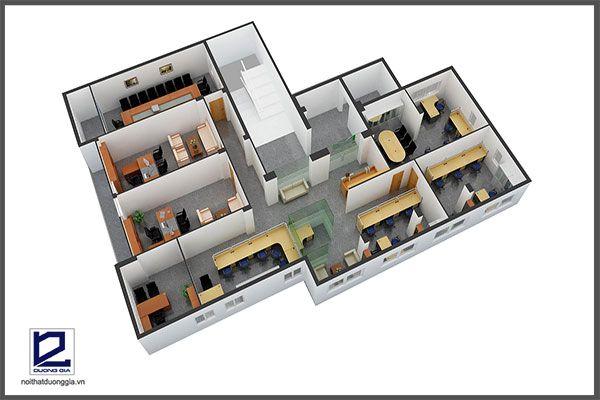 Mẫu thiết kế nội thất văn phòng VP-DG17 (góc chụp 1)