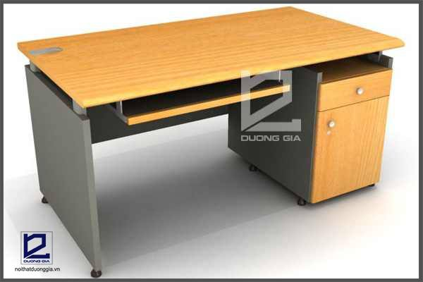 Bàn làm việc có thiết kế kèm theo ngăn kéo và kệ để tài liệu sẽ phù hợp với thiết kế nội thất văn phòng nhỏ.