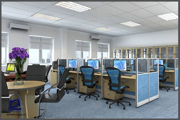 Vị trí đặt bàn làm việc cũng cần được tính toán kỹ lưỡng nếu muốn thiết kế nội thất văn phòng theo phong thủy.