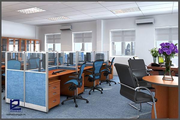 Thiết kế văn phòng không gian mở không gộp chung các không gian.