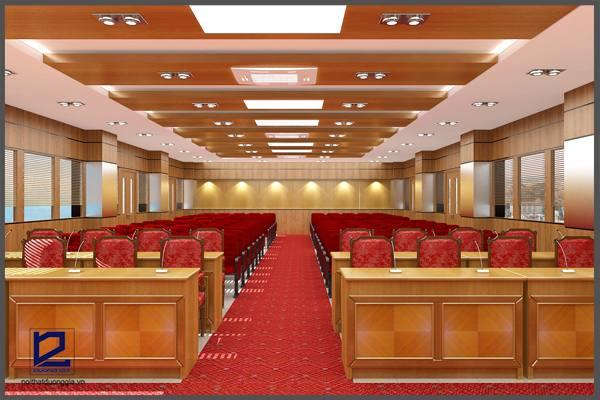 Thiết kế nội thất hội trường 150 chỗ chuyên nghiệp, sang trọng, tiện nghi