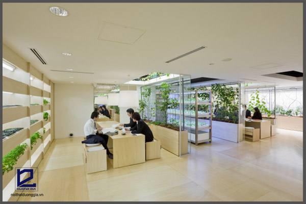 Đưa thiên nhiên vào văn phòng là một trong những phong cách thiết kế nội thất văn phòng hiện đại,