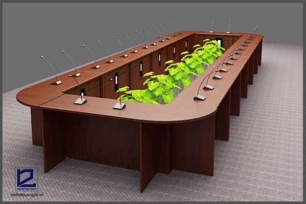 Bàn họp dùng trong mẫu thiết kế nội thất phòng họp Điện lực Gia Lâm PH-DG02