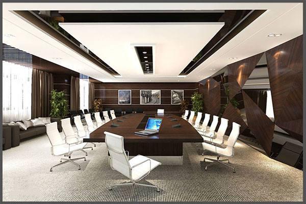 Trang trí phòng họp bằng nội đồ dùng ấn tượng.