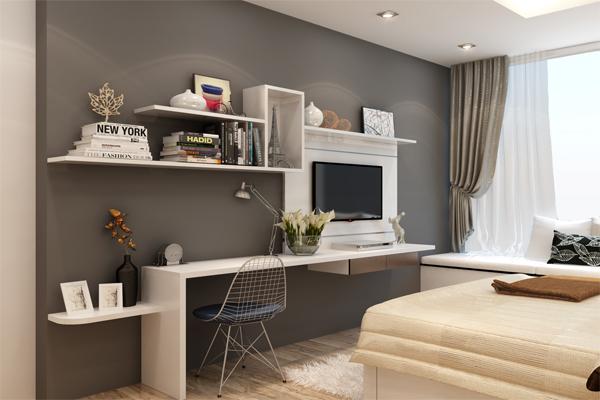 Một góc phòng ngủ được thiết kế thành nơi làm việc hiện đại, phong cách