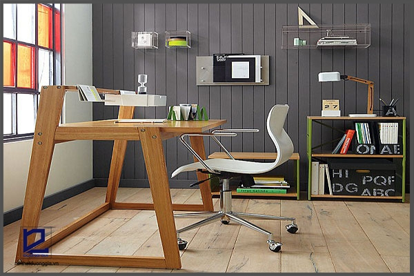 Bàn làm việc ở nhà bằng gỗ đem đến sự gần gũi, ấm cúng.