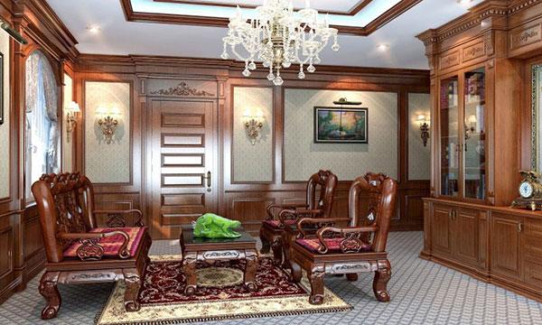 Sử dụng nội thất từ gỗ tự nhiên là điều mà các phòng Giám đốc thiết kế theo phong cách cổ điển lựa chọn.