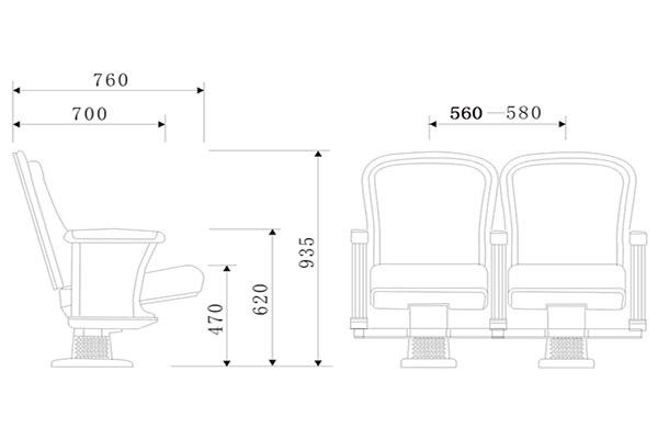 Bản vẽ ghế hội trường độc đáo và ấn tượng - mẫu 02