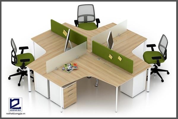 Cụm bàn làm việc 3 người, 4 người thích hợp với văn phòng hiện đại.
