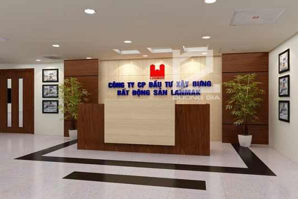 Quầy lễ tân văn phòng công ty Bất động sản LandMark do Nội thất Dương Gia thiết kế.