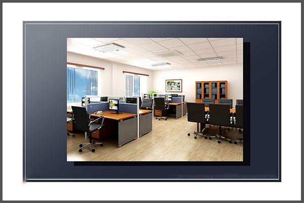 Thiết kế văn phòng 100m2 với khu nhân viên gọn gàng, thẩm mỹ