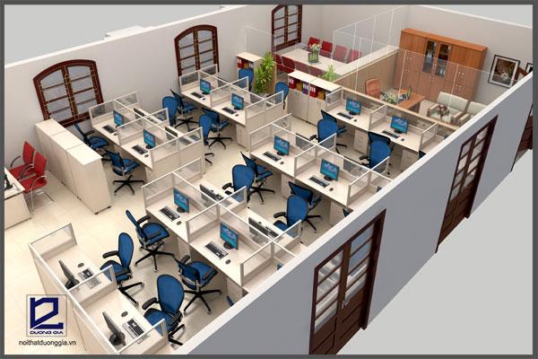Thiết kế văn phòng 100m2 với các khu vực chức năng thiết kế theo phong cách mở