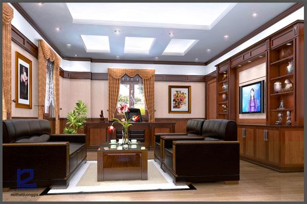 Bàn ghế tiếp khách sang trọng trong nội thất phòng Giám đốc