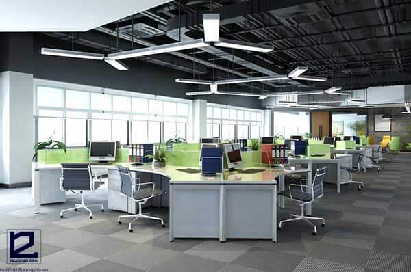 Mẫu thiết kế nội thất văn phòng theo phong cách ấn tượng với trần thô