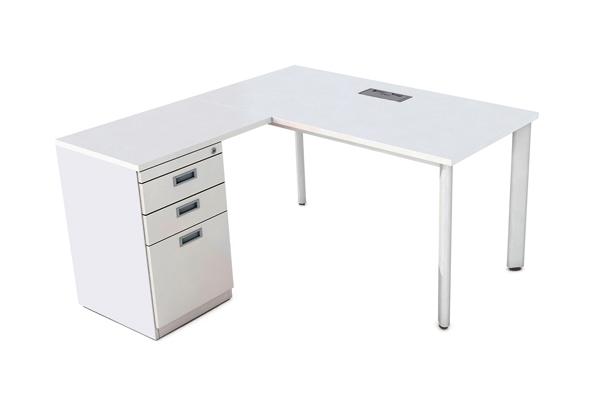 Bàn văn phòng OV1414SL1-L chữ L, chân oval hiện đại