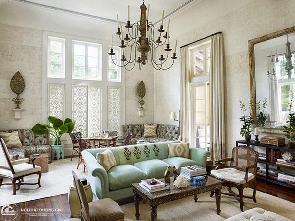 Trang trí phòng khách theo phong cách Vintage không thể thiếu các chi tiết như rèm, giấy dán tường,...