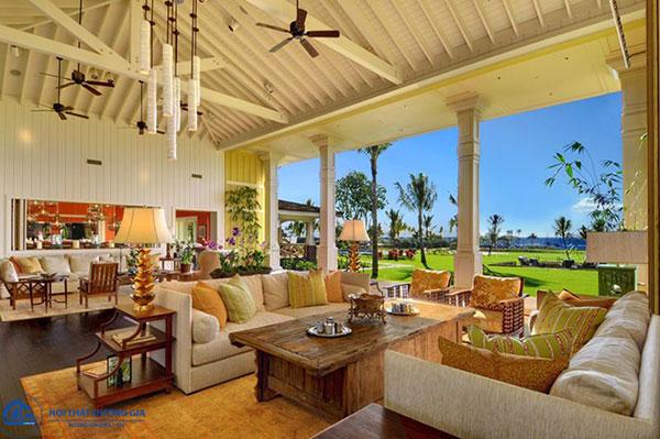 Chất liệu tự nhiên trong phong cách thiết kế nội thất Tropical style