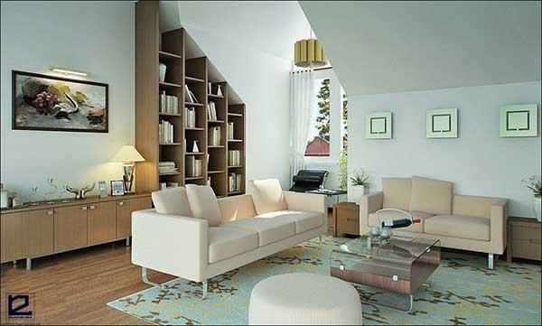 Mẫu thiết kế nội thất phòng khách theo phong cách Retro số 2