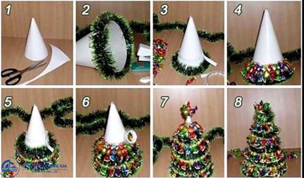 Các làm cây thông Noel bằng dây kim tuyến