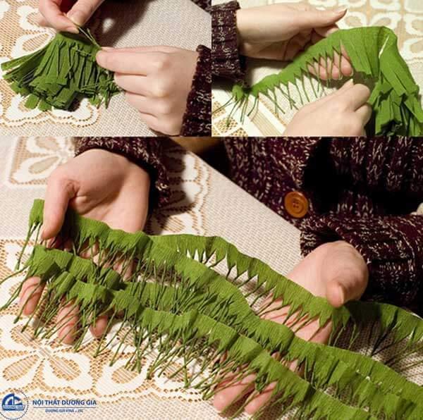 Cách làm cây thông Noel mini bằng giấy nhún