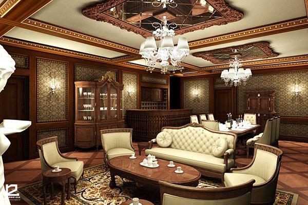 Chất liệu gỗ được tận dụng tối đa trong thiết kế nội thất cổ điển