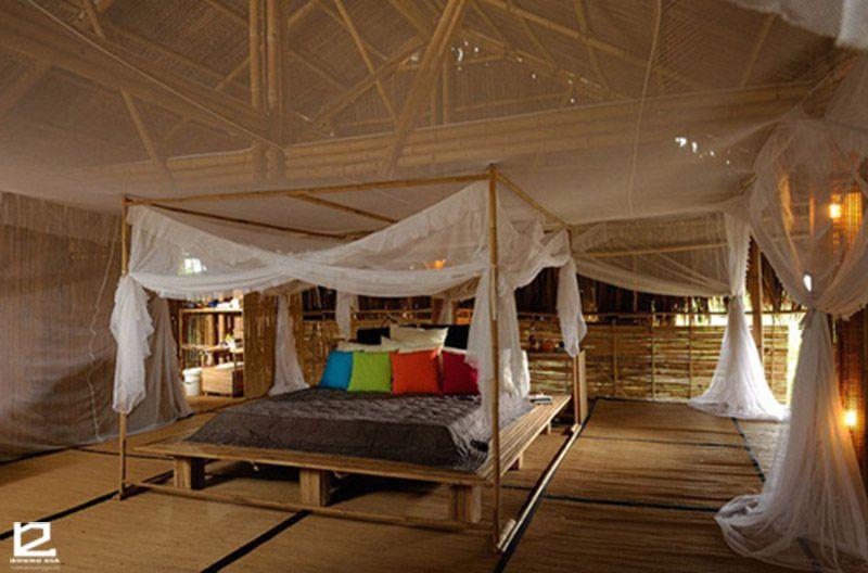 Mẫu thiết kế nhà tre này có 4 phòng ngủ.