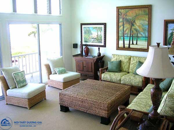 Những gam màu xanh từ nhạt tới đạm được dùng triệt để trong phong cách Tropical