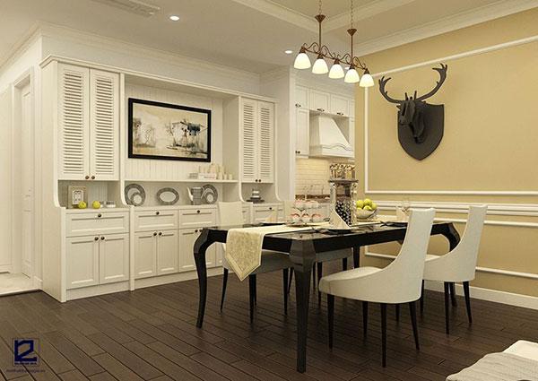 Phòng ăn gia đình được thiết kế nội thất bán cổ điển đẹp