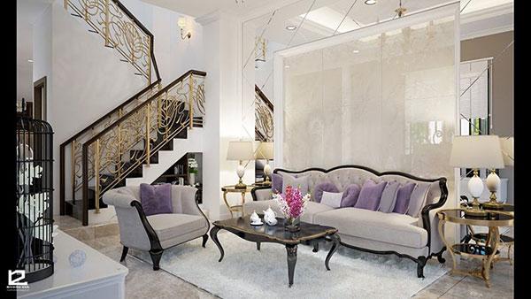 Thiết kế nội thất bán cổ điển cho phòng khách trở nên cuốn hút hơn