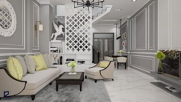Phòng khách mang phong cách thiết kế nội thất bán cổ điển tinh tế, sang trọng