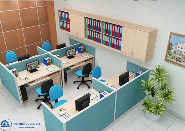 Khi sắp xếp và bố trí văn phòng làm việc nhỏ nên tận dụng khoảng không gian trống phía trên.