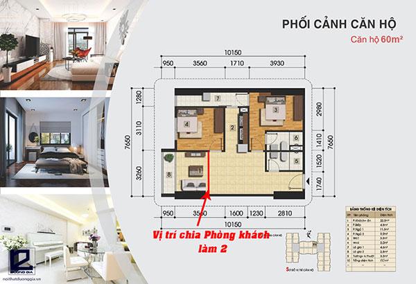 Cải tạo nhà chung cư 60m2 từ 2 phòng ngủ thành 3 phòng ngủ
