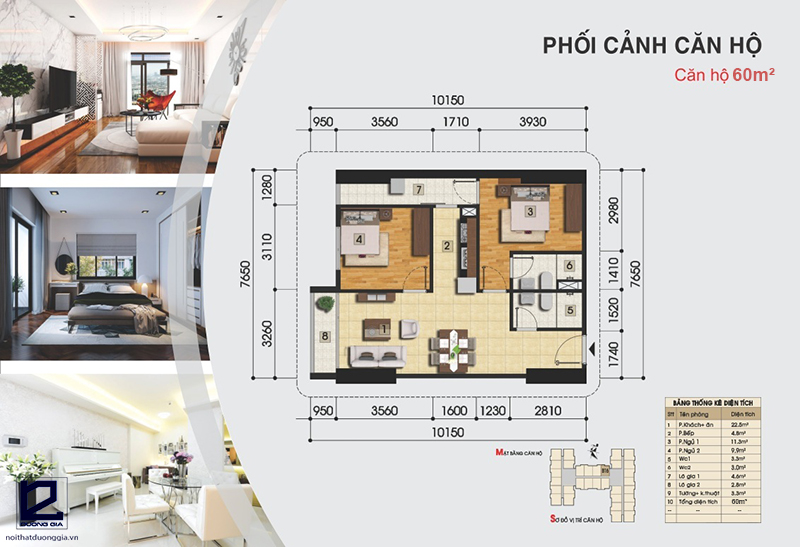 Tư vấn hướng cải tạo nhà chung cư 60m2 tiện nghi, hợp phong thủy