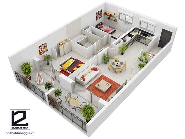 Mẫu thiết kế nội thất căn hộ chung cư 60, 70m2 với 2 phòng ngủ đẹp