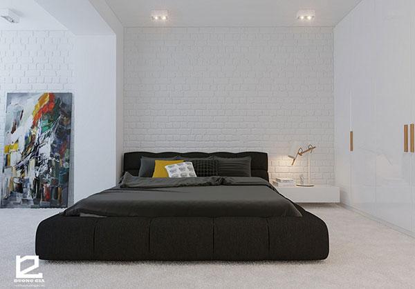 Có thể sử dụng kết hợp giữa hai gam màu sáng tối nhằm tạo nên điểm nhân cho không gian phòng ngủ chung cư nhỏ.