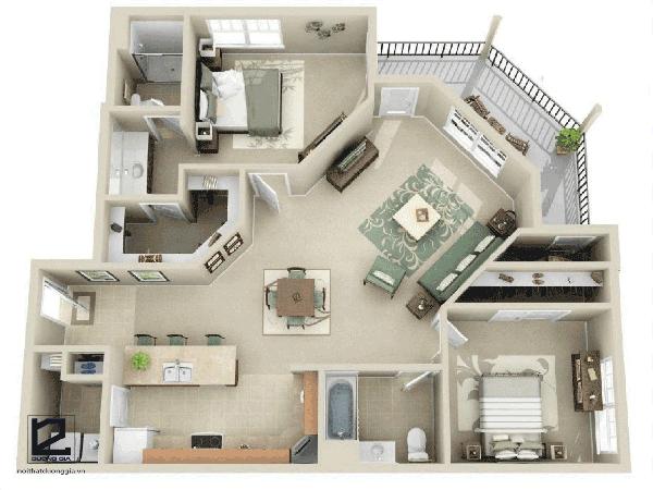Thiết kế căn hộ 60m2 2 phòng ngủ đẹp - Mẫu 1