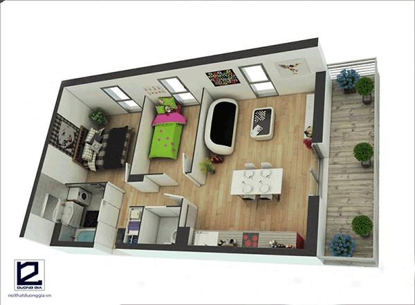 Thiết kế căn hộ 60m2 2 phòng ngủ đẹp - Mẫu 2