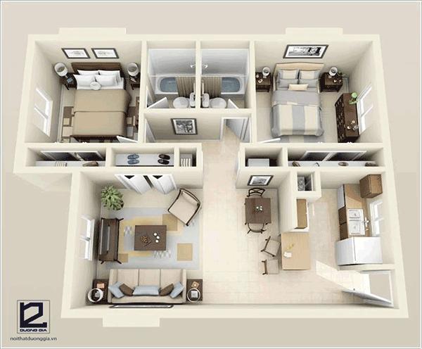 Thiết kế căn hộ chung cư 60m2 2 phòng ngủ - Mẫu 3