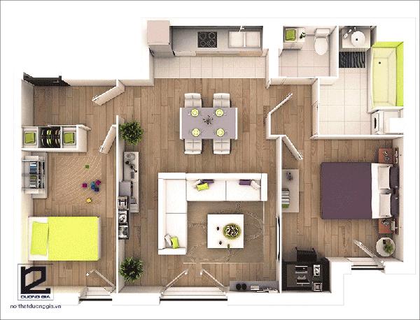 Thiết kế căn hộ chung cư 60m2 2 phòng ngủ - Mẫu 4