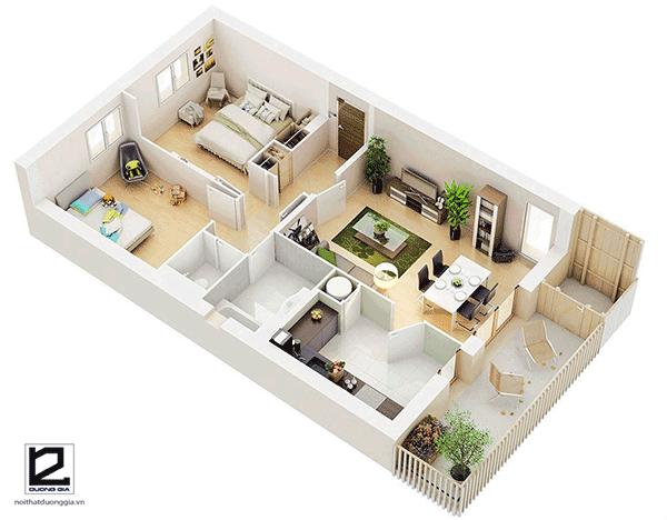 Thiết kế căn hộ chung cư 60m2 2 phòng ngủ - Mẫu 5