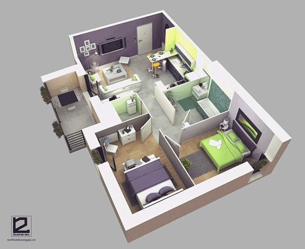 Thiết kế căn hộ chung cư 70m2 2 phòng ngủ đẹp - Mẫu 4