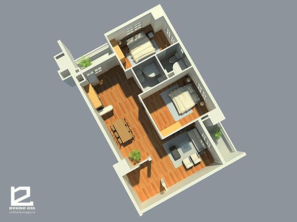 Thiết kế căn hộ chung cư 70m2 2 phòng ngủ đẹp - Mẫu 5