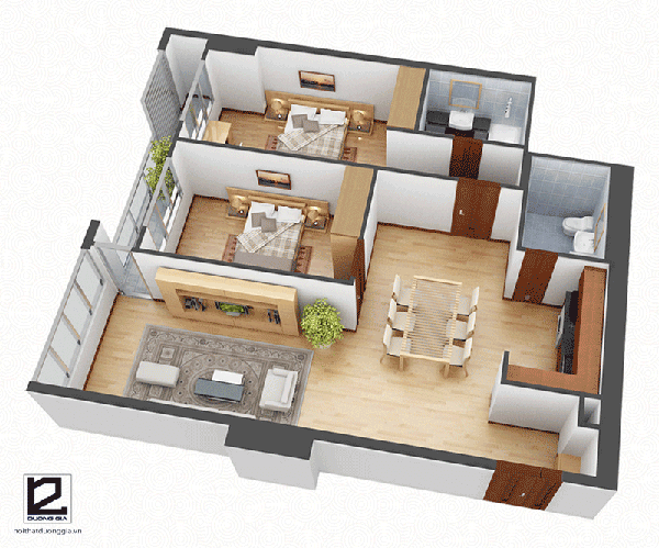 Thiết kế nội thất chung cư 2 phòng ngủ với diện tích 70m2 - Mẫu 1